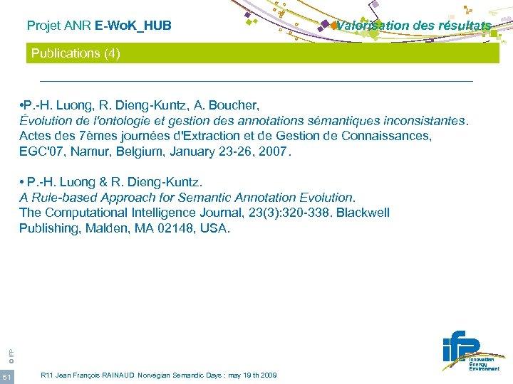 Projet ANR E-Wo. K_HUB Valorisation des résultats Publications (4) • P. -H. Luong, R.