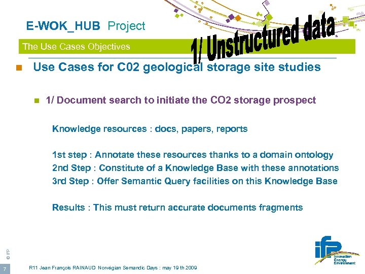 E-WOK_HUB Project The Use Cases Objectives n Use Cases for C 02 geological