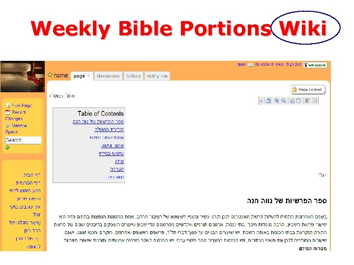 Weekly Bible Portions Wiki – Team chooses Bible Portion – Team researches internet and