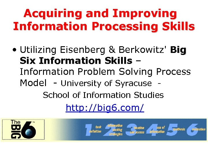 Acquiring and Improving Information Processing Skills • Utilizing Eisenberg & Berkowitz' Big Six Information