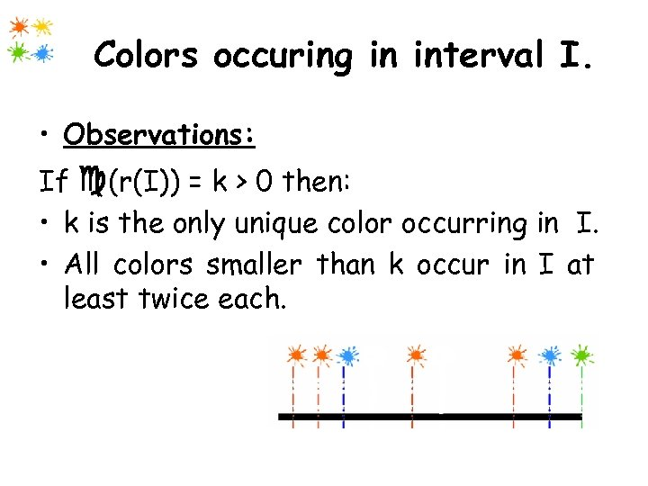 Colors occuring in interval I. • Observations: If (r(I)) = k > 0 then: