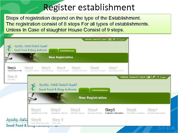 Register establishment Steps of registration depend on the type of the Establishment. The registration