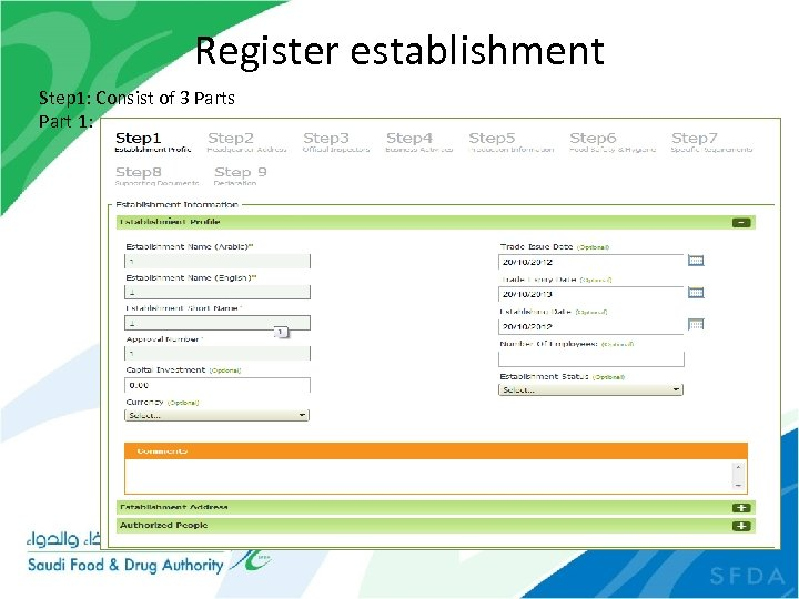 Register establishment Step 1: Consist of 3 Parts Part 1: