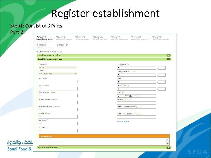 Register establishment Step 1: Consist of 3 Parts Part 2: