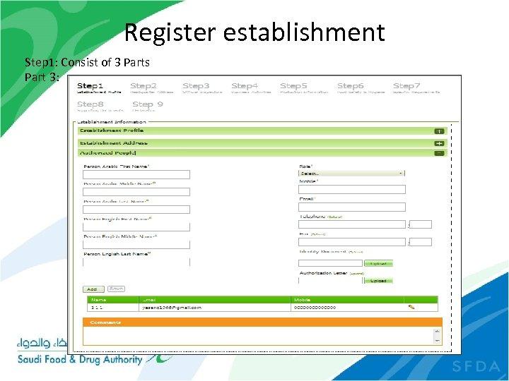 Register establishment Step 1: Consist of 3 Parts Part 3: