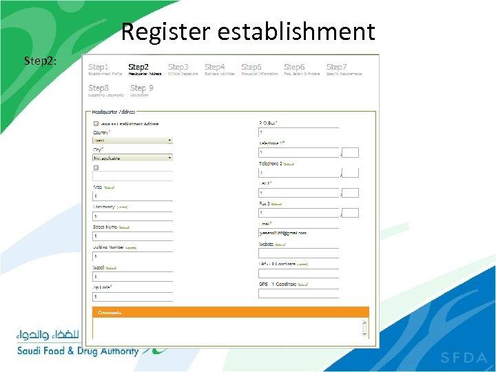 Register establishment Step 2:
