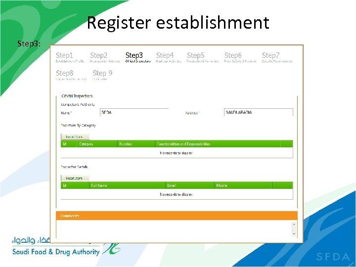 Register establishment Step 3: