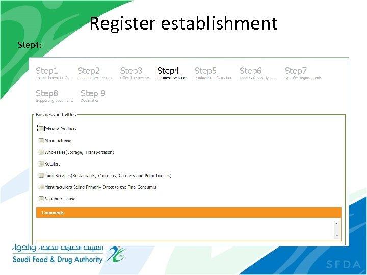 Register establishment Step 4: