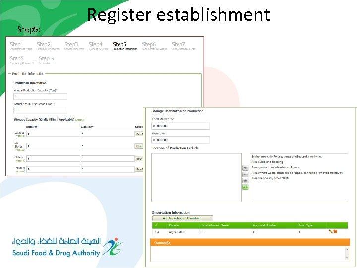 Step 5: Register establishment