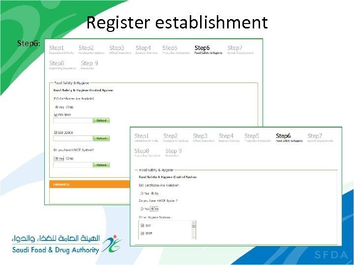 Register establishment Step 6: