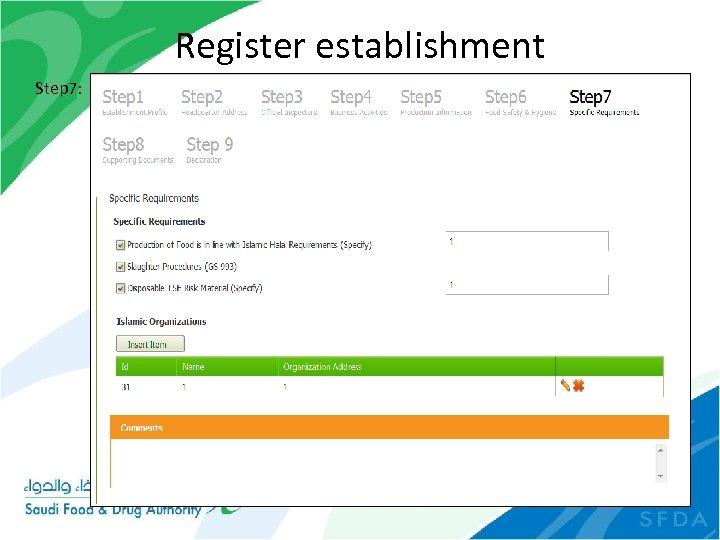 Register establishment Step 7: