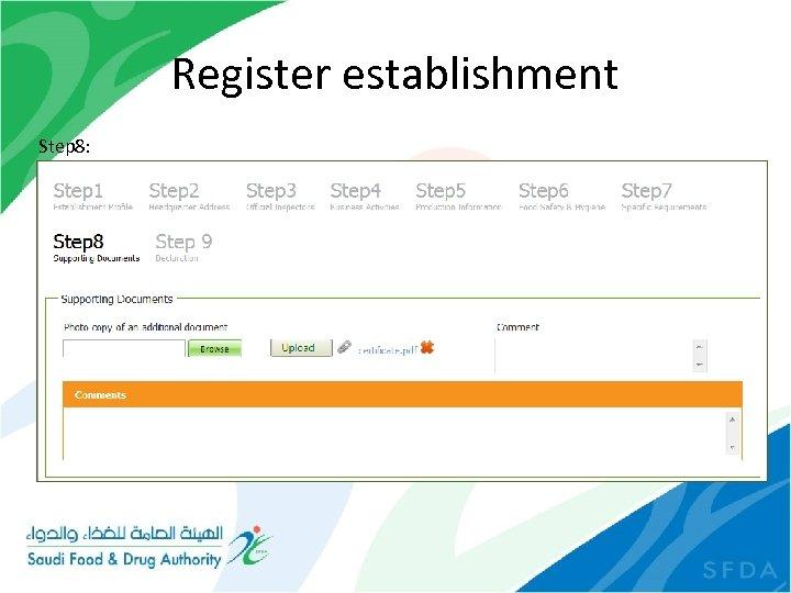 Register establishment Step 8:
