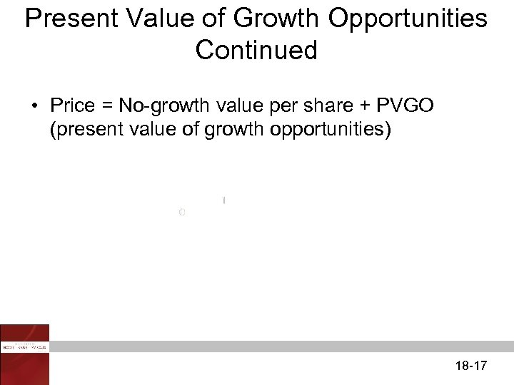 Present Value of Growth Opportunities Continued • Price = No-growth value per share +