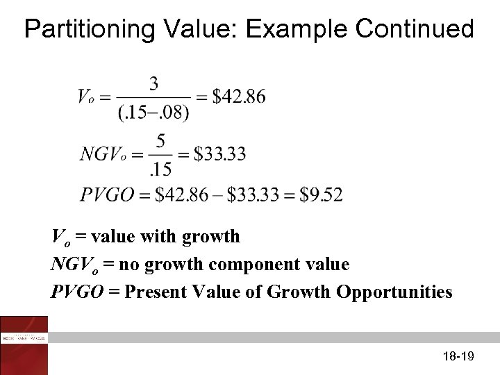 Partitioning Value: Example Continued Vo = value with growth NGVo = no growth component