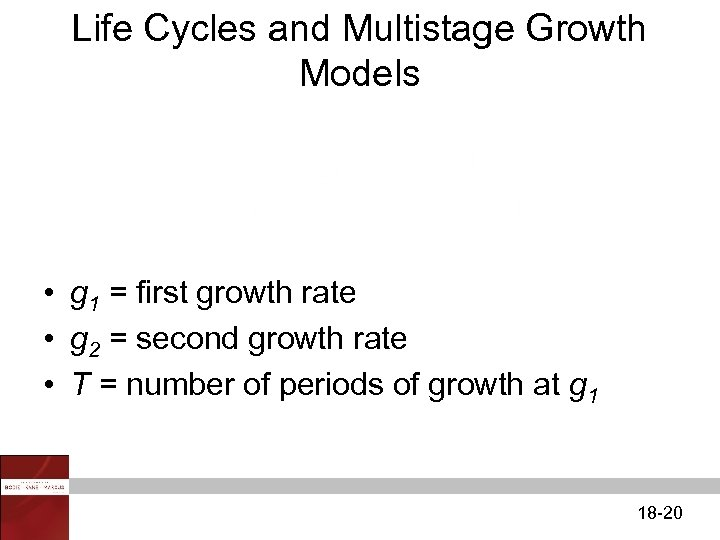 Life Cycles and Multistage Growth Models • g 1 = first growth rate •