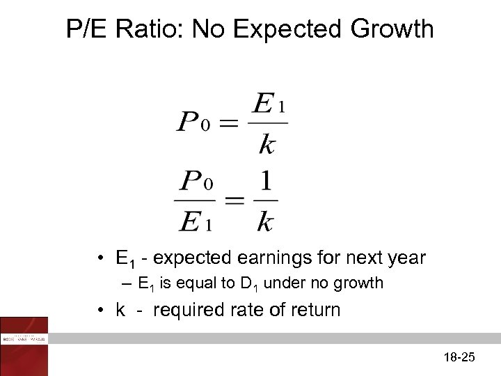 P/E Ratio: No Expected Growth • E 1 - expected earnings for next year