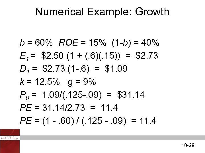 Numerical Example: Growth b = 60% ROE = 15% (1 -b) = 40% E