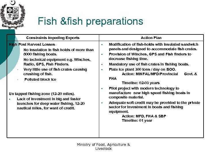 Fish &fish preparations Constraints Impeding Exports High Post Harvest Losses. § No insulation in