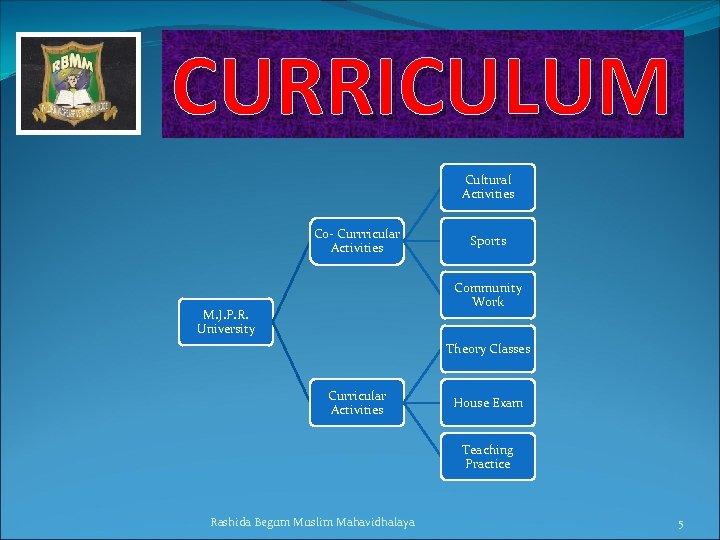 CURRICULUM Cultural Activities Co- Currricular Activities Sports Community Work M. J. P. R. University