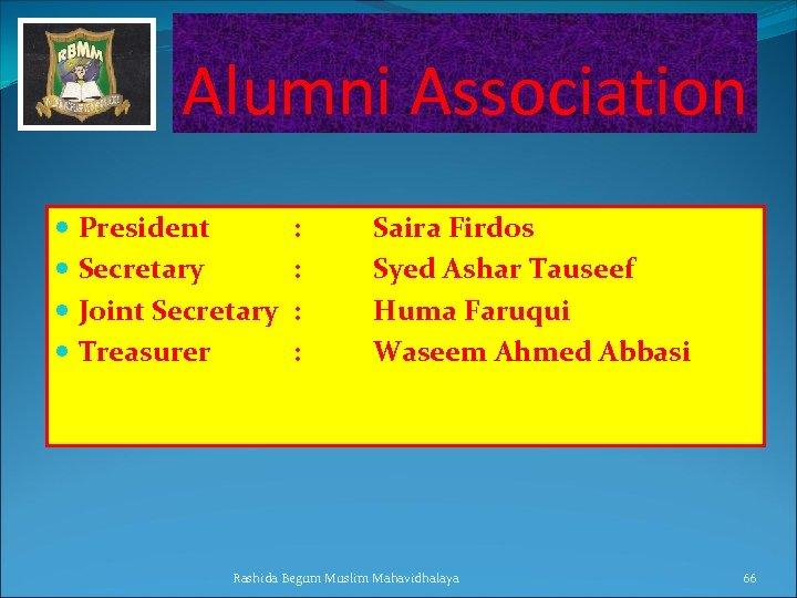 Alumni Association President Secretary Joint Secretary Treasurer : : Saira Firdos Syed Ashar Tauseef