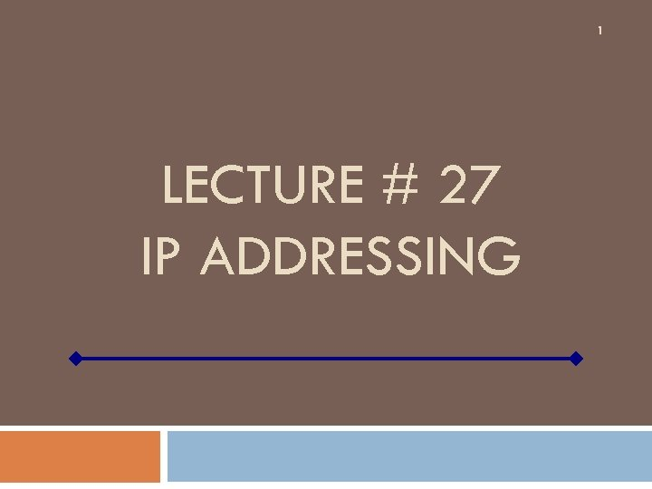 1 LECTURE # 27 IP ADDRESSING
