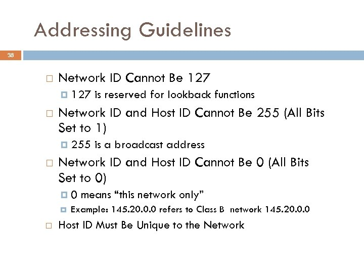 Addressing Guidelines 38 Network ID Cannot Be 127 Network ID and Host ID Cannot