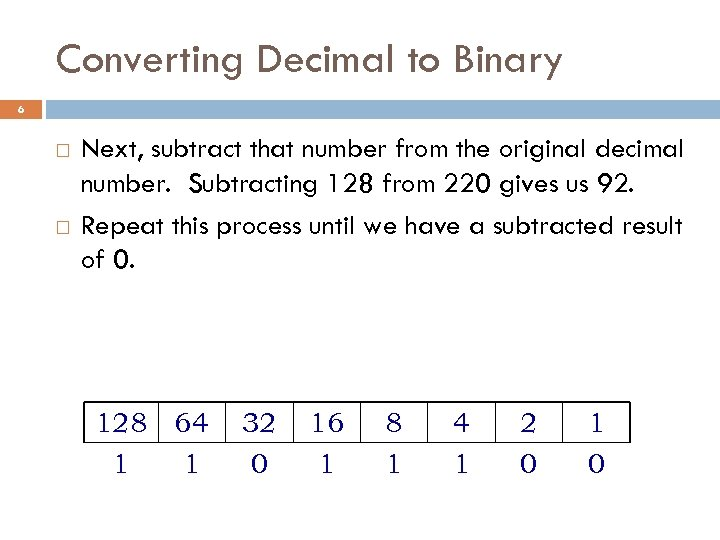 Converting Decimal to Binary 6 Next, subtract that number from the original decimal number.