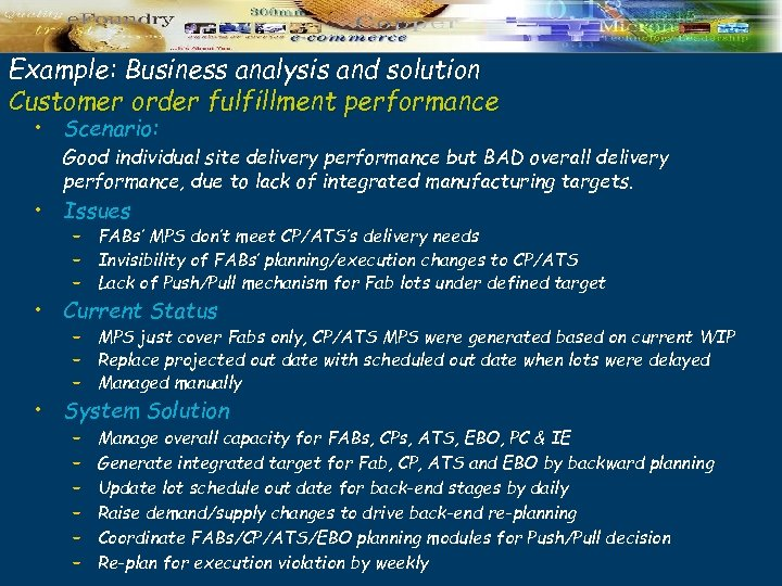 Example: Business analysis and solution Customer order fulfillment performance • Scenario: Good individual site