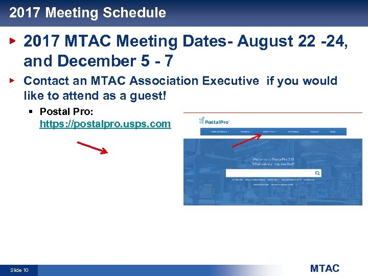 2017 Meeting Schedule 2017 MTAC Meeting Dates- August 22 -24, and December 5 -