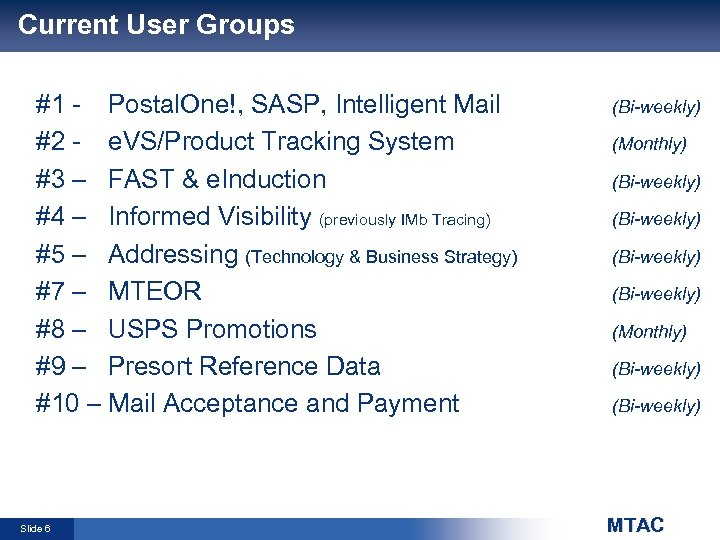 Current User Groups #1 - Postal. One!, SASP, Intelligent Mail #2 - e. VS/Product