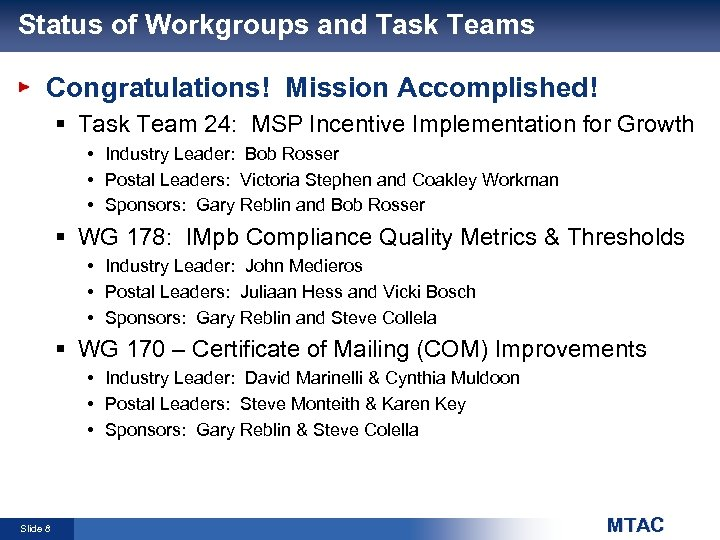 Status of Workgroups and Task Teams Congratulations! Mission Accomplished! § Task Team 24: MSP
