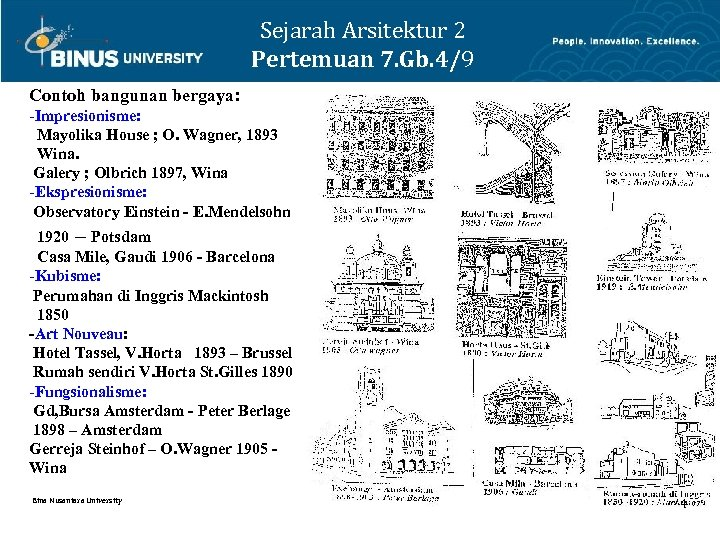 Sejarah Arsitektur 2 Pertemuan 7. Gb. 4/9 Contoh bangunan bergaya: -Impresionisme: Mayolika House ;