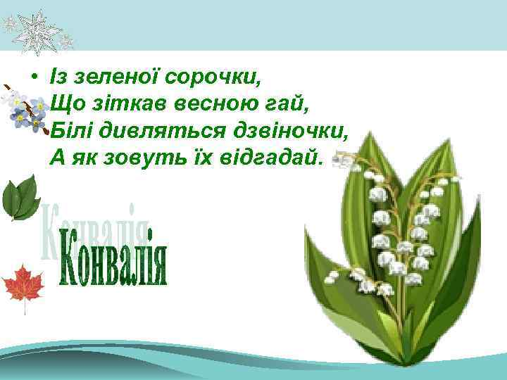 • Із зеленої сорочки, Що зіткав весною гай, Білі дивляться дзвіночки, А як