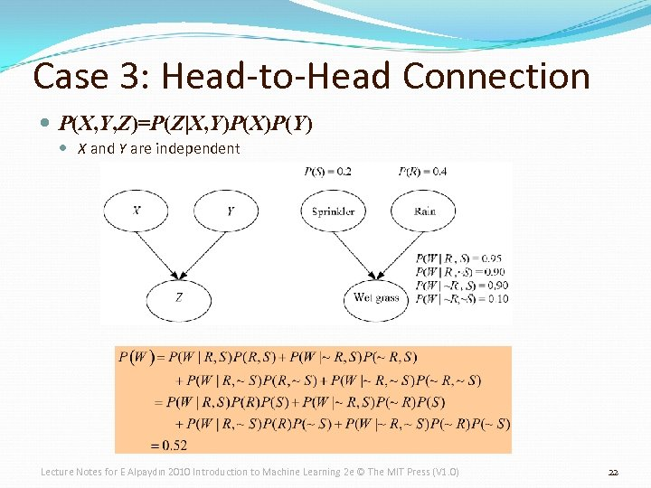 Case 3: Head-to-Head Connection P(X, Y, Z)=P(Z|X, Y)P(X)P(Y) X and Y are independent Lecture