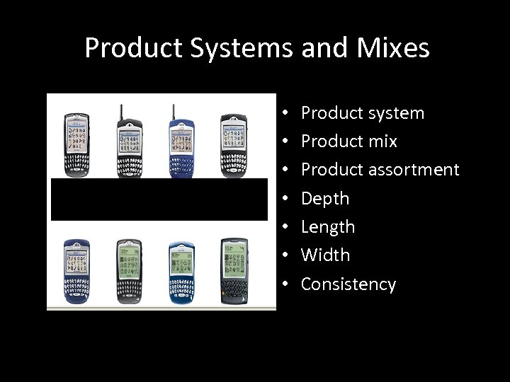 Product Systems and Mixes • • Product system Product mix Product assortment Depth Length