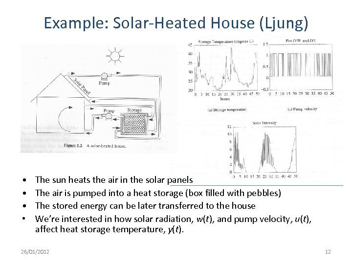 Example: Solar-Heated House (Ljung) • • The sun heats the air in the solar