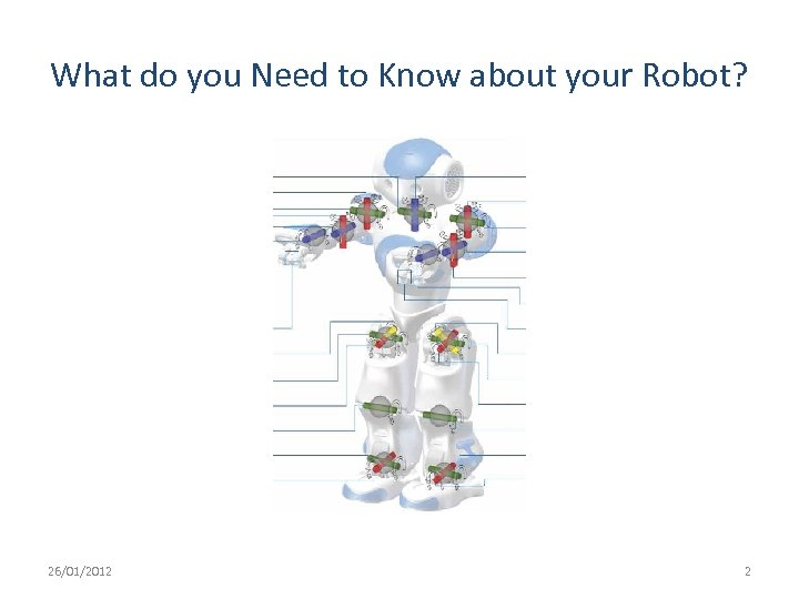 What do you Need to Know about your Robot? 26/01/2012 2