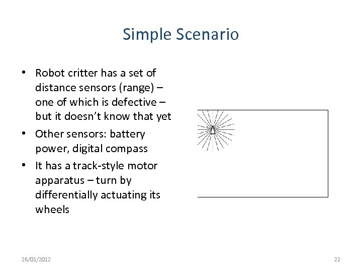Simple Scenario • Robot critter has a set of distance sensors (range) – one