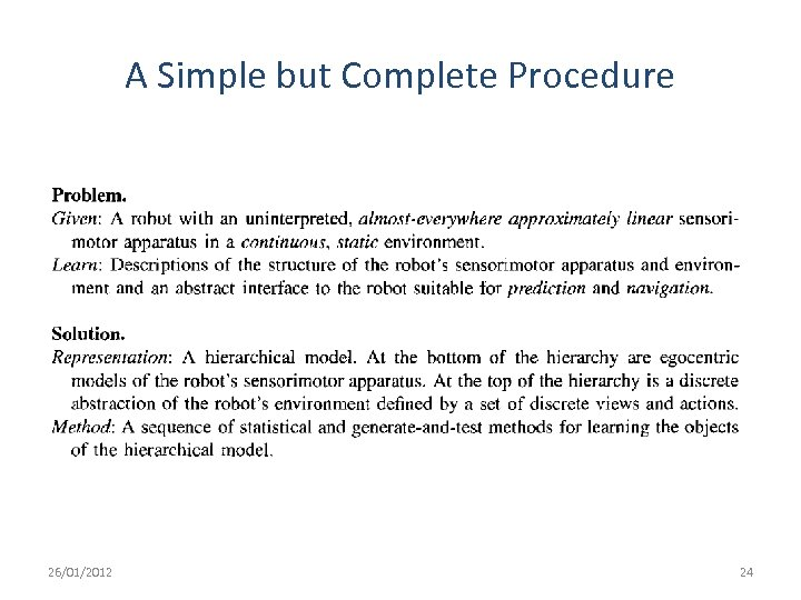 A Simple but Complete Procedure 26/01/2012 24