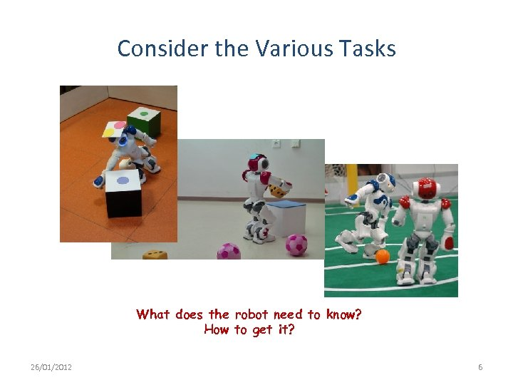 Consider the Various Tasks What does the robot need to know? How to get