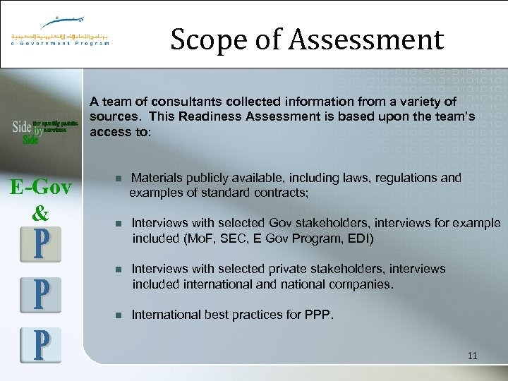 Scope of Assessment A team of consultants collected information from a variety of sources.