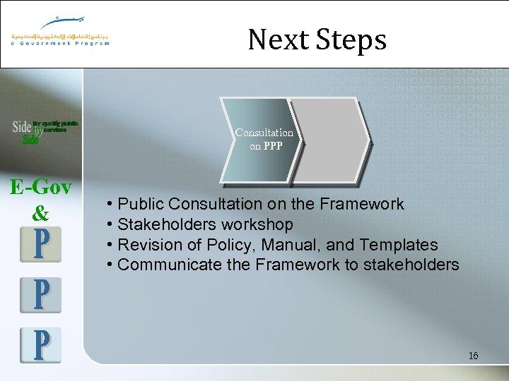 Next Steps Consultation on PPP E-Gov & • Public Consultation on the Framework •