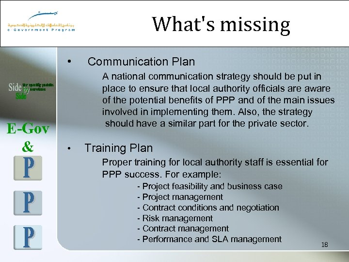 What's missing • E-Gov & Communication Plan A national communication strategy should be put