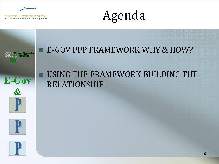 Agenda n E-Gov & E-GOV PPP FRAMEWORK WHY & HOW? n USING THE FRAMEWORK