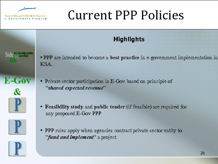 Current PPP Policies Highlights • PPP are intended to become a best practice in