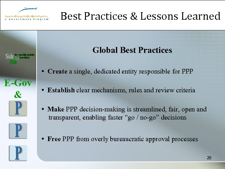Best Practices & Lessons Learned Global Best Practices • Create a single, dedicated entity