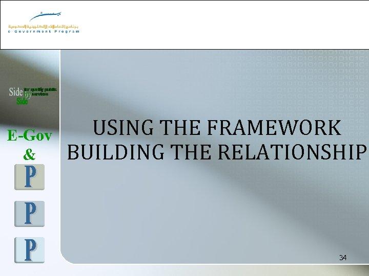 E-Gov & USING THE FRAMEWORK BUILDING THE RELATIONSHIP 34