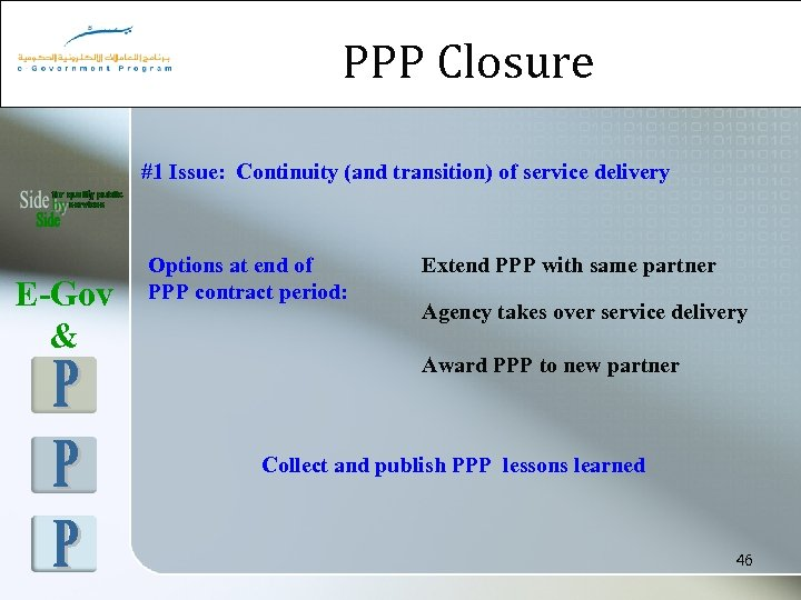 PPP Closure #1 Issue: Continuity (and transition) of service delivery E-Gov & Options at