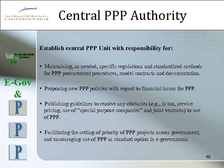 Central PPP Authority Establish central PPP Unit with responsibility for: • Maintaining, as needed,