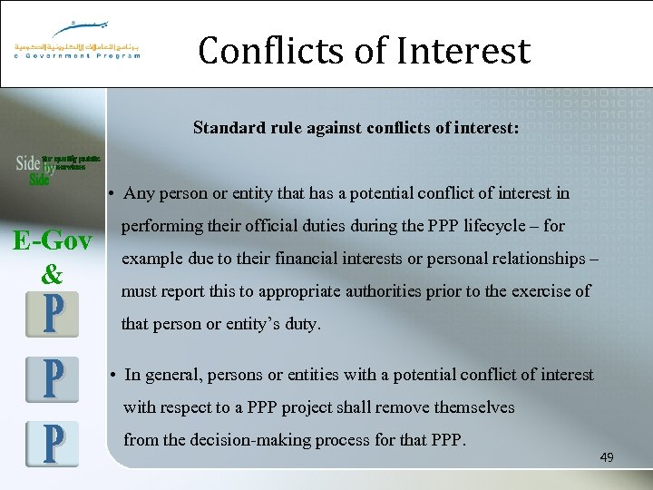 Conflicts of Interest Standard rule against conflicts of interest: • Any person or entity